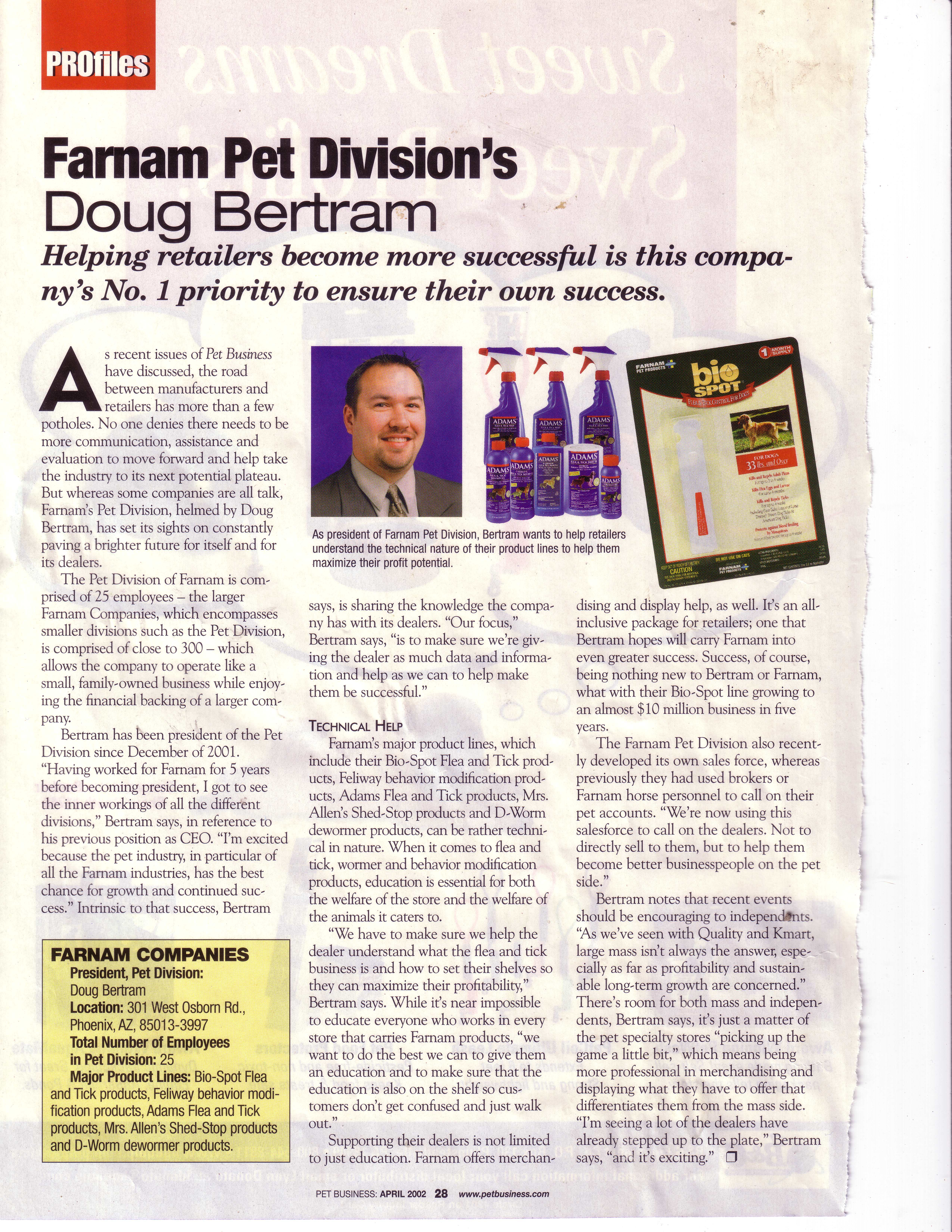 Doug Bertram profiled as Farnam Pet Division's